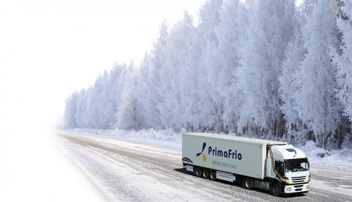 Camión Primafrio paisaje nevado